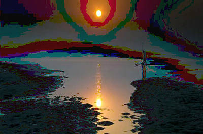 Mom Painting - Sunset At Ganga River In The Planes Of Provinces by Navin Joshi