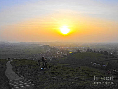 Sunset At Glastonbury Tor Art Print by Andrew Middleton