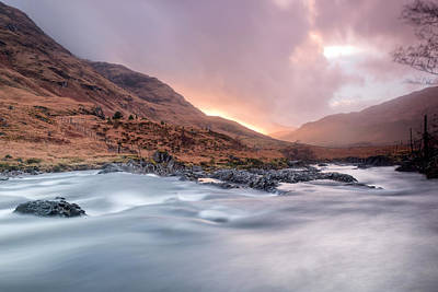 Highlands Of Scotland Photograph - Sunset At Glen Etive by Chris Frost