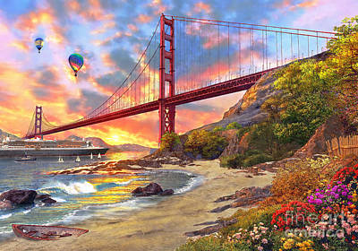 Hot Air Balloon Digital Art - Sunset At Golden Gate by Dominic Davison
