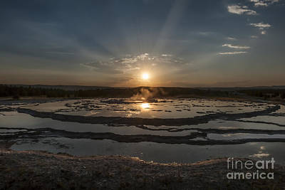 Photograph - Sunset At Great Fountain Geyser - Yellowstone by Sandra Bronstein