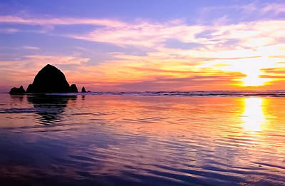Photograph - Sunset At Haystack Rock by Joseph Bowman