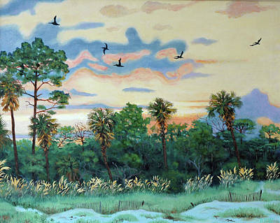 Art Print featuring the painting Sunset At Hunting Island by Dwain Ray