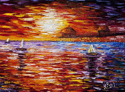 Huntington Beach Painting - Sunset At Huntington Beach Pier by Natasha Petrosova