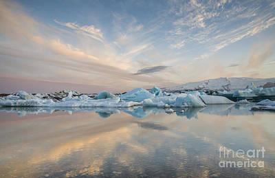 Sunset At Jokulsarlon Iceland Art Print by Ning Mosberger-Tang