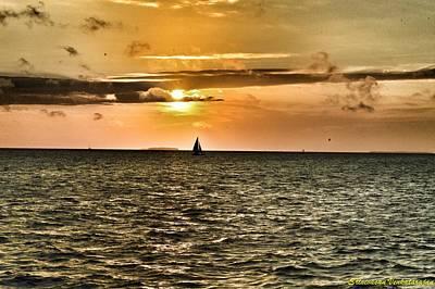 Rowing Royalty Free Images - Sunset at Key West Royalty-Free Image by Srinivasan Venkatarajan