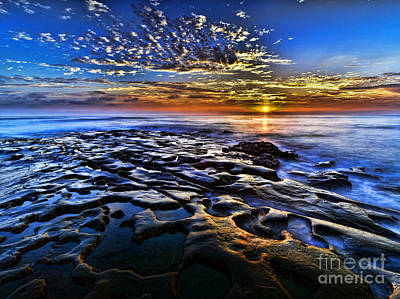 Sunset At La Jolla Tide Pools Art Print by Peter Dang