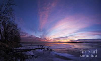 Sunset At Lovewell Lake Kansas Art Print