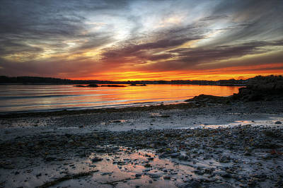 Fort Stark Photograph - Sunset At Low Tide by Eric Gendron