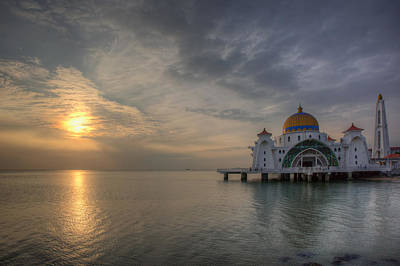 Sunset At Malacca Straits Mosque Print by David Gn