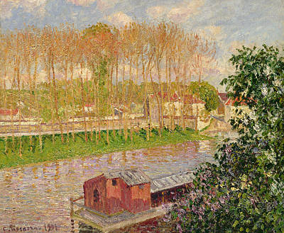 Boathouse Painting - Sunset At Moret Sur Loing by Camille Pissarro
