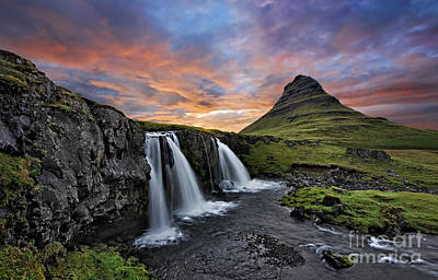 Photograph - Sunset At Mt. Kirkjufell by Roman Kurywczak
