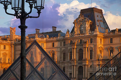 On Trend At The Pool - Sunset at Musee du Louvre by Brian Jannsen