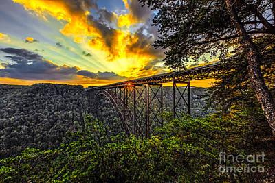 Sunset At New River Gorge Bridge Art Print by Mark East