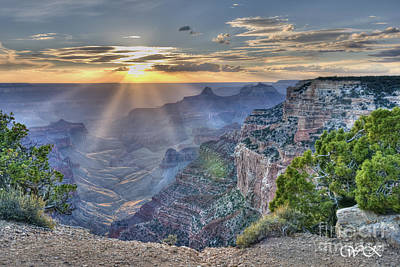 Sunset At Northern Rim Of The Grand Canyon Art Print