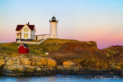 Sunset At Nubble Lighthouse Art Print