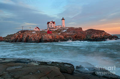 Sunset At Nubble Lighthouse Art Print