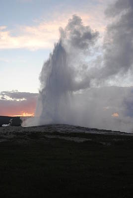 Photograph - Sunset At Old Faithful by Robert  Moss