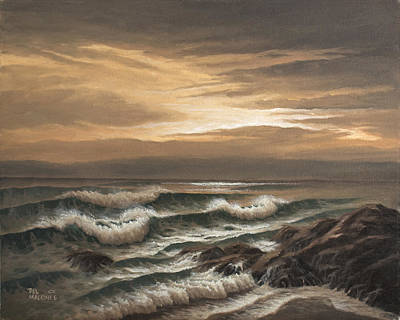 Painting - Sunset At Pacific Grove by Del Malonee