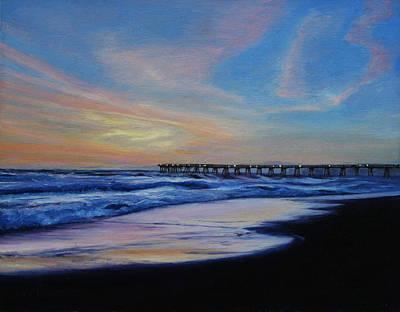 Redondo Beach Pier Wall Art - Painting - Sunset At Redondo Beach by Sue Birkenshaw