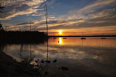 Digital Art - Sunset At Reservoir by Angel Cher