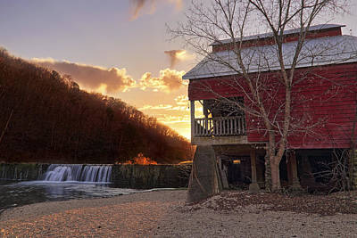 Photograph - Sunset At Rockbridge Mill - Ozark County Missouri by Jason Politte