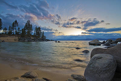 Curated Beach Towels - Sunset at Sand Harbor Divers Cove by Dianne Phelps