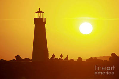 Photograph - Sunset At Santa Cruz Harbor Lighthouse by Paul Topp