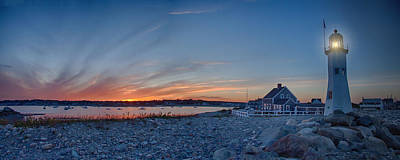 Sunset At Scituate Light Art Print