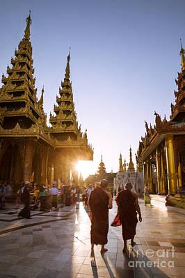 Myanmar Photograph - Sunset At Shwedagon Pagoda - Myanmar by Matteo Colombo