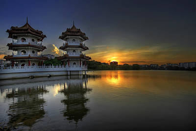 Landscape Photograph - Sunset At Singapore Chinese Garden by David Gn