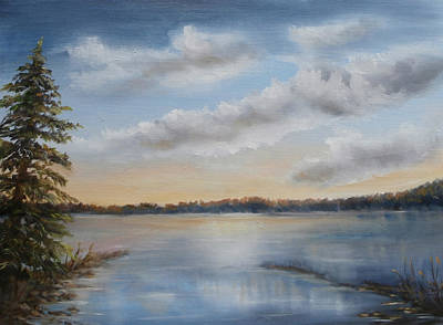 Painting - Sunset At Sparta Lake New Jersey by Katalin Luczay