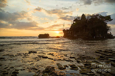 Sunset At Tanah Lot Temple Bali Art Print