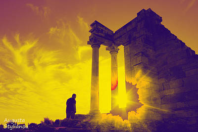 God Of Light Digital Art - Sunset At Temple Of Apollo  by Augusta Stylianou