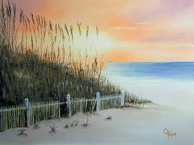 Painting - Sunset At The Beach by Chris Fraser