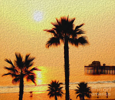 Sunset At The Beach In Oceanside California Art Print by Kenneth Montgomery