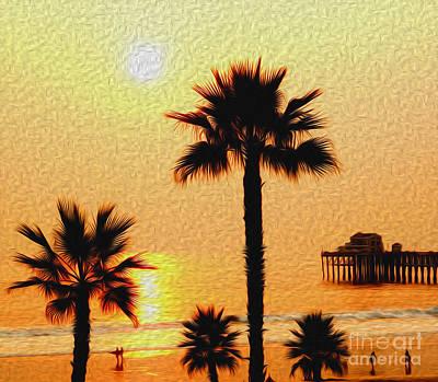 Sunset At The Beach In Oceanside California Art Print