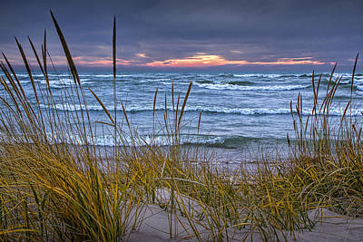Randall Nyhof Royalty Free Images - Sunset on the Beach at Lake Michigan with Dune Grass Royalty-Free Image by Randall Nyhof
