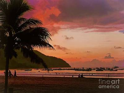 Photograph - Sunset At The Beach - Puerto Lopez - Ecuador by Julia Springer
