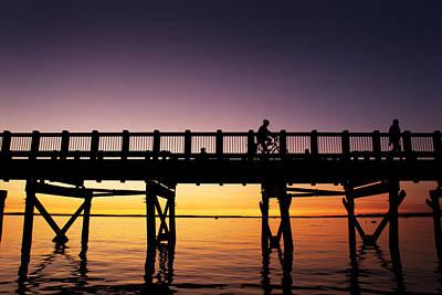 Locust Sunset Photograph - Sunset At The Boardwalk In Bellingham Washington by Paul Conrad