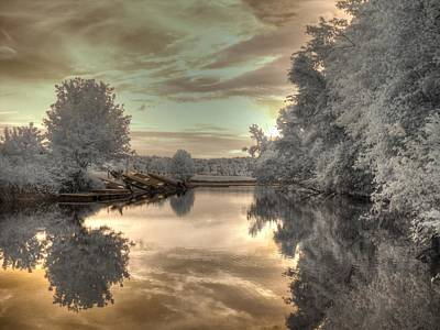 Infared Photograph - Sunset At The Boathouse by Jane Linders