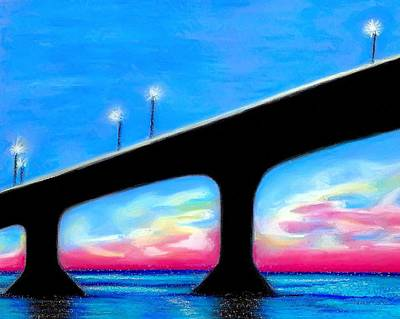 Drawing - Sunset At The Bridge by Jo Prevost