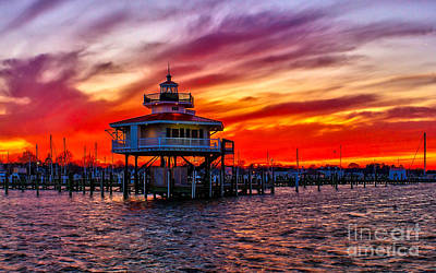 Photograph - Sunset At The Choptank River Lighthouse  by Nick Zelinsky