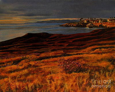Painting - Sunset At The Cliffs by Keith Gantos