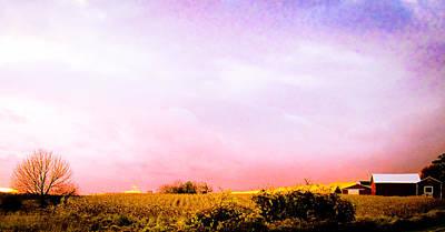 Sunset At The Farm Art Print by Sara Frank
