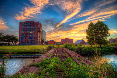 Sunset At The Imperial Sugar Factory Early Stage Landscape Art Print by Micah Goff