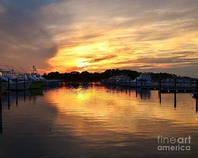 Photograph - Sunset At The Indian River Marina Delaware by Kim Bemis