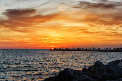 Southwest Florida Sunset Photograph - Sunset At The Jetties by Frank J Benz