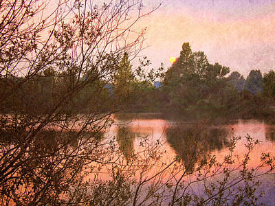 Sunset At The Lake Art Print by Angela Bruno