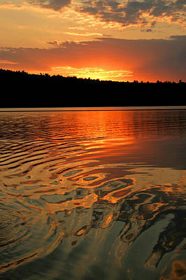 Sunset At The Lake Art Print by Barbara West